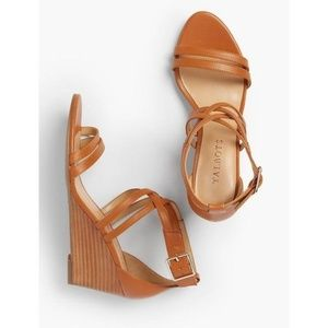 Talbots tan strappy wedges 9M